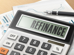 41487795 - calculator with the word refinance on the display