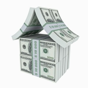 House made from dollars. 3D image